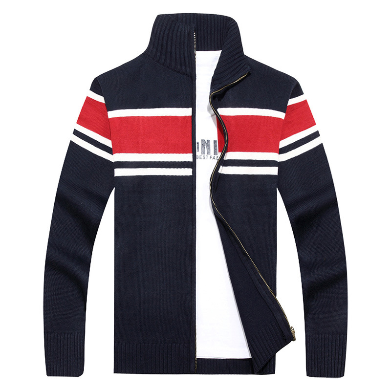 New Fashion Brand Thick Sweater Mens Cardigan Slim Fit Jumpers Knitwear Warm Autumn Casual Clothing Patchwork Top Coat