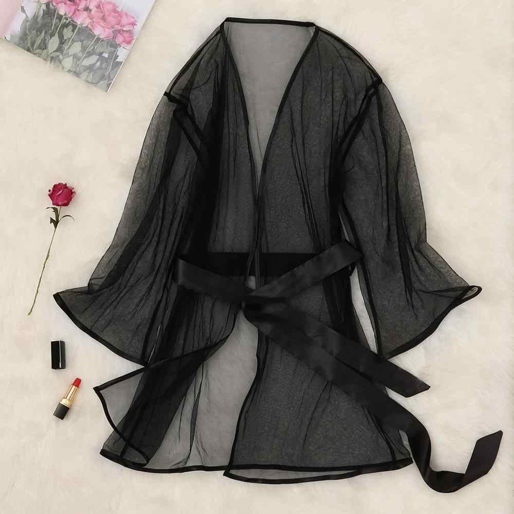נשים סקסי הלבשת חלוק תחרה הלבשה תחתונה תחתוני כותונת חלק שחור Nightwear סקסי халат женский חלוק פאטאל A40
