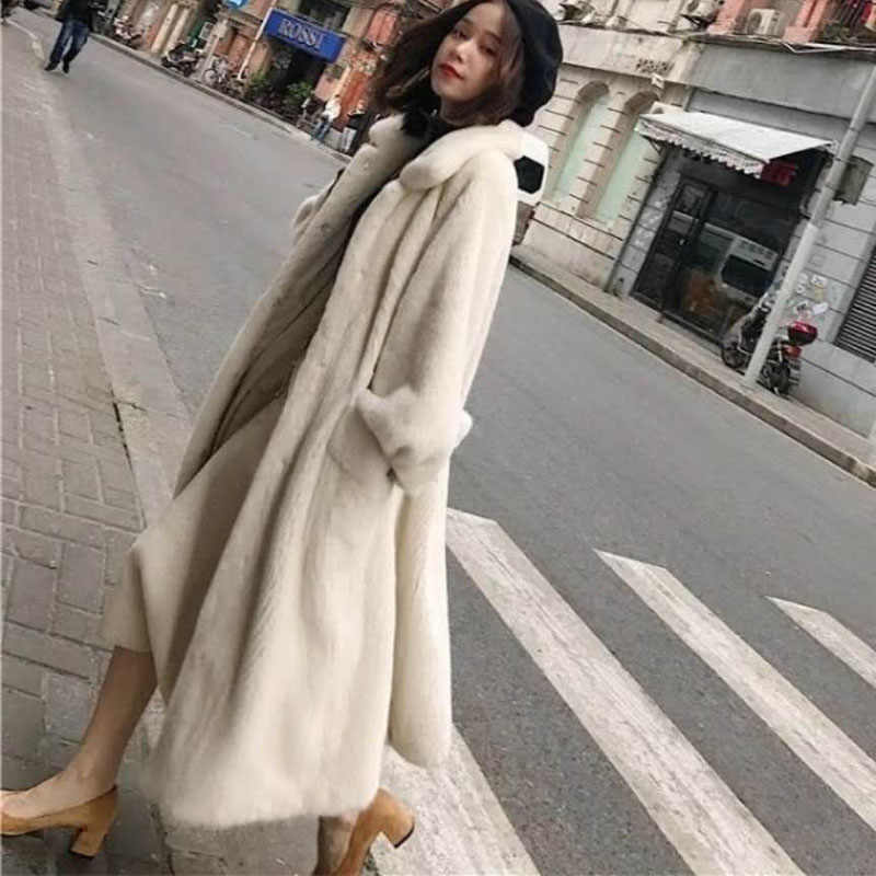 2019 winter new fur Outerwear female fashion Plus size solid color long fur coat high-end warm Mink fur jacket coat Women Parka