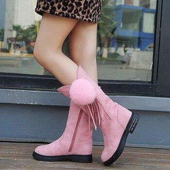 Fashion Children Boots Hot Sale Girls Winter Princess Boots Kids Stylish Tessel Fur Ball Plush Warm Shoes Kid Calf Boot