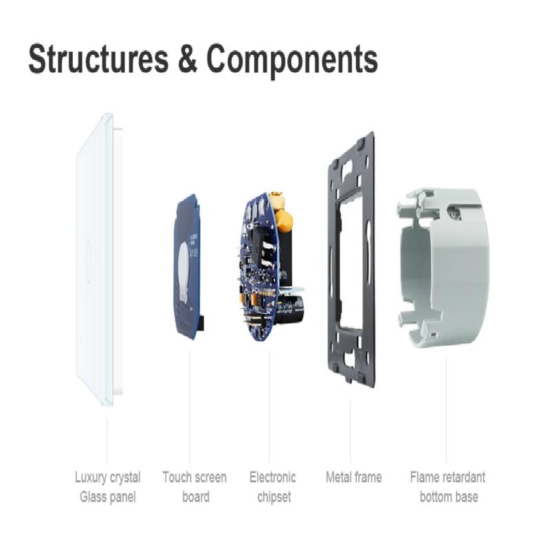 Livolo luxury Wall Touch Sensor Switch,EU Standard Light Switch,Crystal Glass switch power,1Gang 1Way Switch,220-250,C701-1/2/5 4