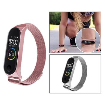 Stainless steel magnetic strap for xiaomi mi band 3 4 metal smart bracelet watch mi Milan band 3 replaceable watch straps mi 4 stainless steel mesh bracelet smart watch band magnetic watch strap watch replacement for xiaomi mi amazfit bip youth watch