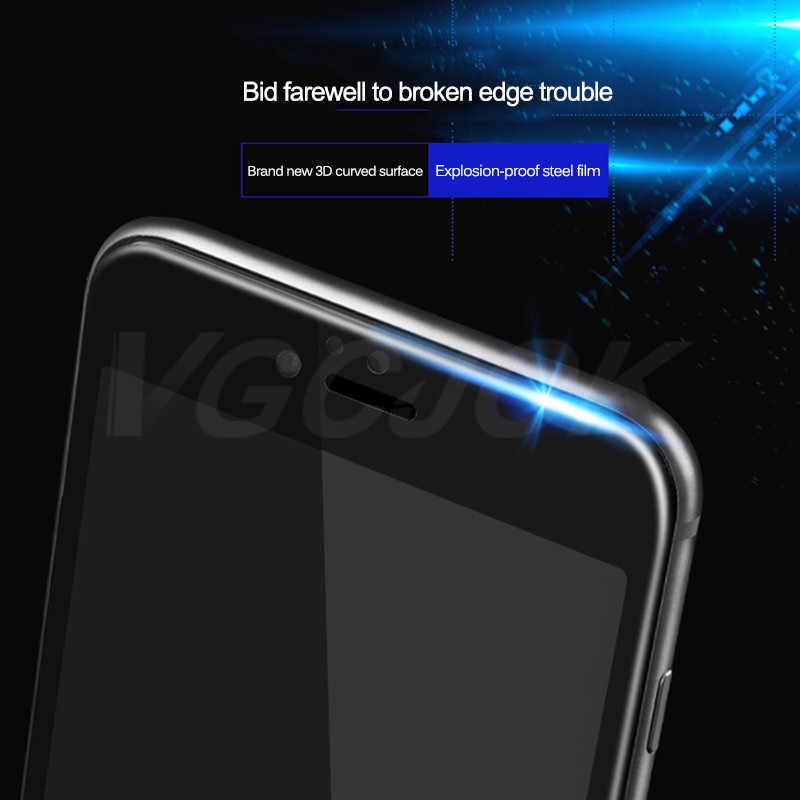 9D Kaca Pelindung Di UNTUK iPhone 6S 6 7 8 Plus X Xs Pelindung Layar Anti Gores Kaca Lengkung di iPhone 7 8 X Perlindungan Film