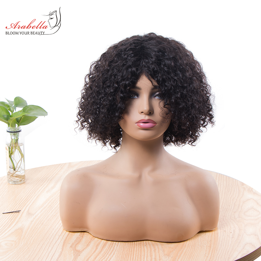 Jerry Curly Machine Wig 100%  Wigs 180% Density Natural  Hair Arabella Curly Hair Wig  1