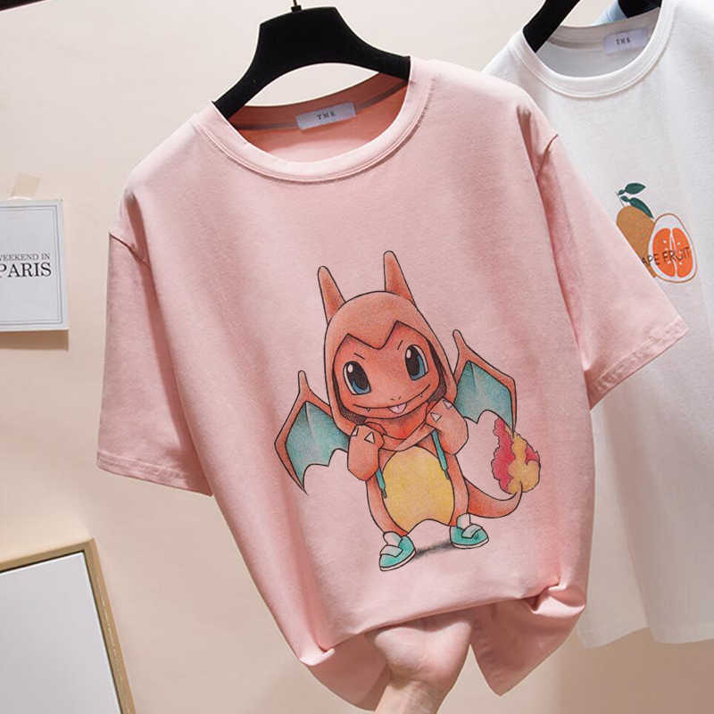 Summer 2019 T Shirt For Women New Exclusive Women Tops pokemon Tees Women Harajuku T-shirt O-neck Pink Kawaii Tops