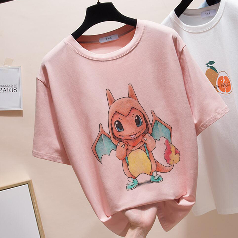 Summer 2019 T Shirt For Women New Exclusive Women Tops Pokemon Tees Women Harajuku T-shirt O-neck Pink Kawaii Tops