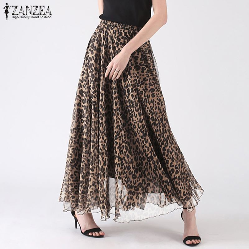 Bohemian Leopard Print Skirts ZANZEA Summer Long Skirt Women Elastic Waist Faldas Jupe Female Party Beach Skirts Sexy Vestido