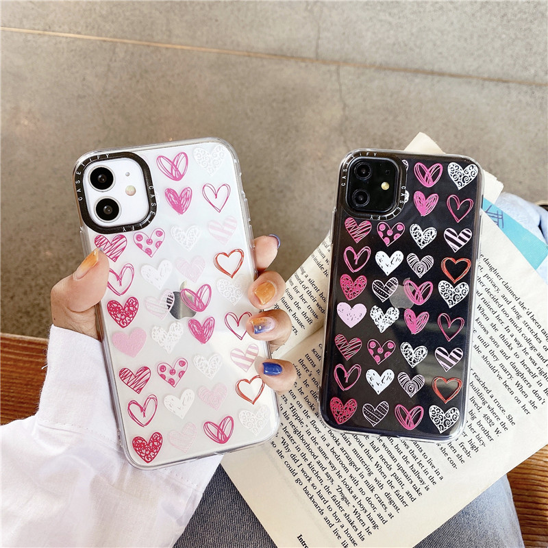 Cute Love Heart Phone Case For iPhone 7 8 Plus X XS 11 Pro Max Coque For iPhone XR Clear Soft TPU Back Cover Black Len Frame