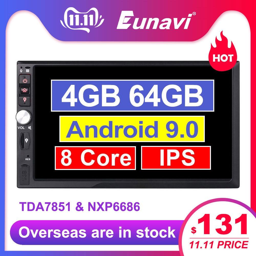 Eunavi 2 Din 7 ''Octa core universel Android 9.0 4GB RAM autoradio stéréo GPS Navigation WiFi 1024*600 écran tactile 2din pas de DVD