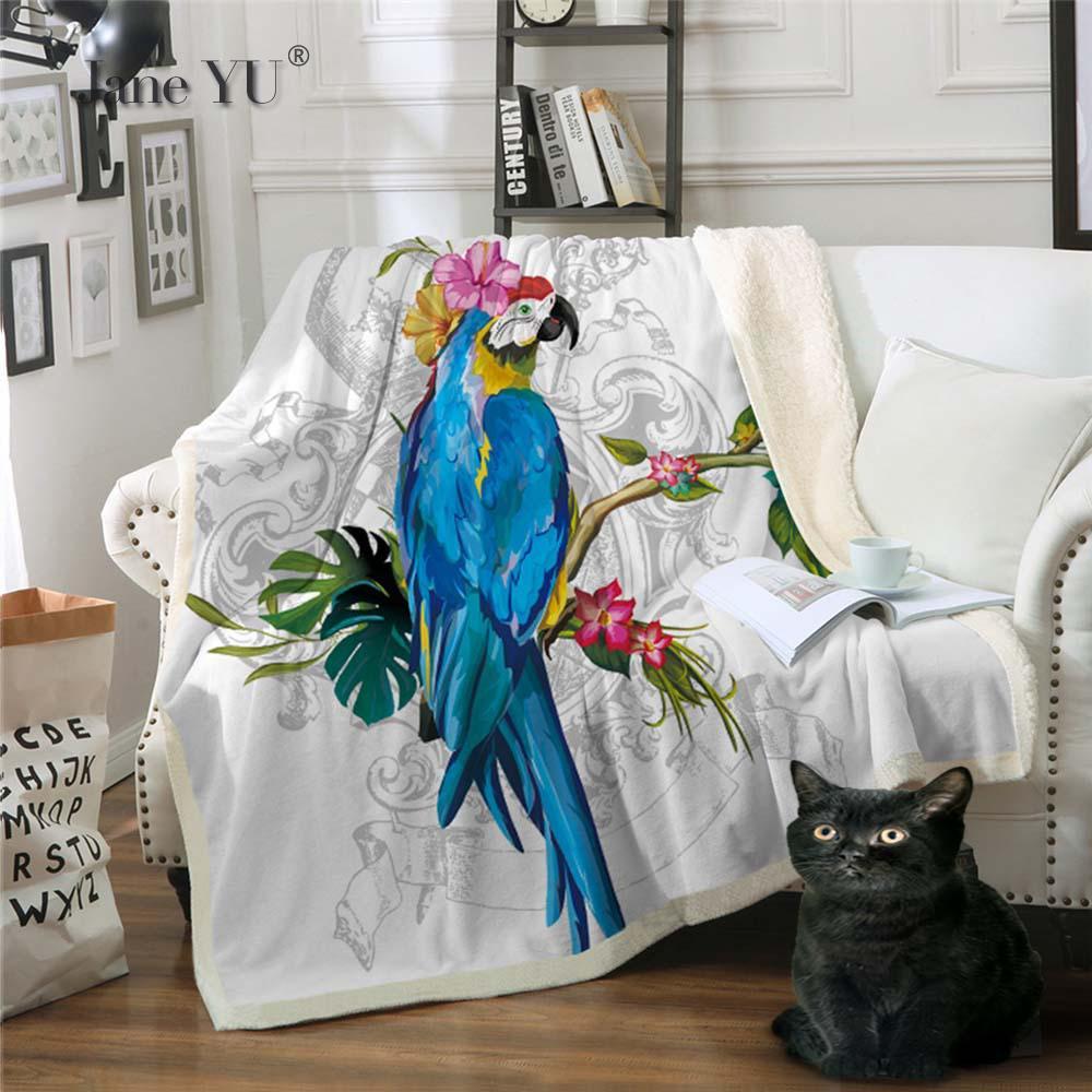Double-couche épaissie couverture impression oiseau bande dessinée couverture canapé couverture couverture paresseux couverture personnalisation jeter