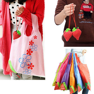 Hot Eco Storage Handbag Strawberry Foldable Shopping Bags Vegetable Fruit Reusable Folding Grocery Nylon Large Bag 8 Colors