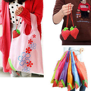 Handbag Large-Bag Fruit Vegetable Grocery Folding Strawberry Nylon Eco-Storage Hot 8-Colors
