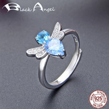Exquisite 925 Sterling Silver Crystal Dragonfly Sapphire Adjustable Ring for Women Wedding CZ Fine Jewelry