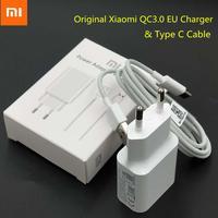 Xiaomi-cargador USB de carga rápida, adaptador Original QC3.0, enchufe de la UE, Cable tipo C para Mi 6, 6X, 9T, CC9, A3, A2, A1, Redmi 8, 8A, Pocophone F1