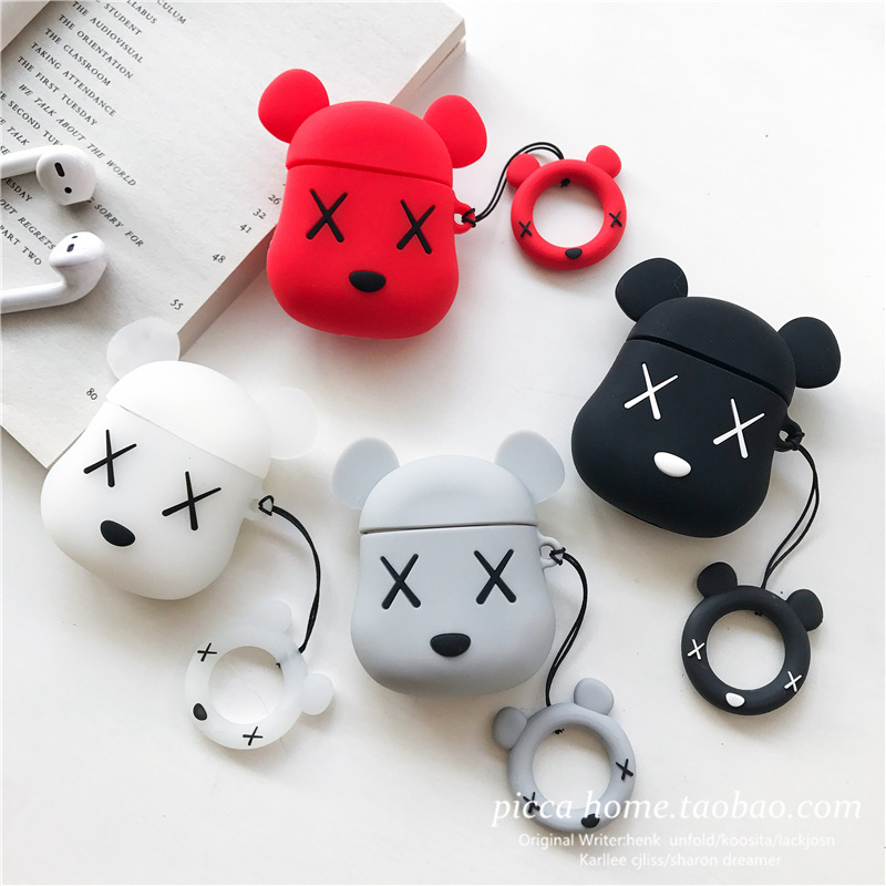 Popular Brand Cartoon Bear <font><b>Apple</b></font> <font><b>AirPods</b></font> Protective Case Shatter-resistant Airpods2 Bluetooth Earphone Set Personalized & Creati image