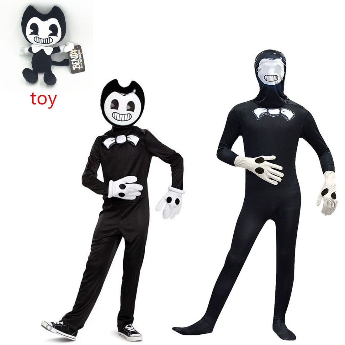 Halloween Costumes For Kids Bandy & Ink Maker Doll Cartoon Thriller Game Cosplay Costumes Kids Halloween BANDY Plush Toy Gifts