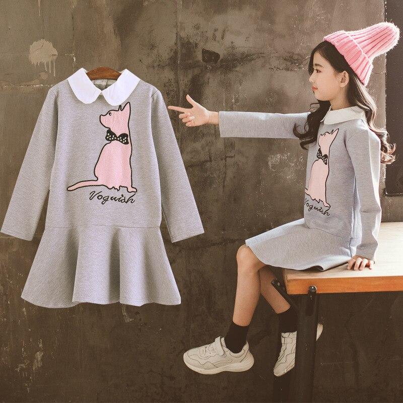 Осеннее платье для девочек коллекция 2019 года, осенне весеннее платье пачка принцессы в Корейском стиле с длинными рукавами для подростков, Школьный костюм для девочек от 4 до 14 лет