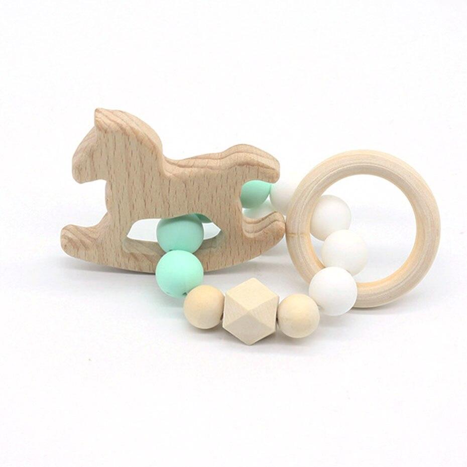 Baby Nursing Bracelets Wooden Teether Crochet Chew Beads Teething Wood Rattles