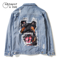 Mens Vintage Denim Jacket Coats Fashion fierce dog print denim jacket Men Punk Rock Jeans Coat Outwear Hip Hop Streetwear Casual