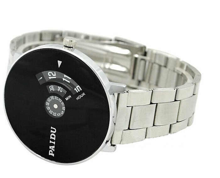 Relogio Masculino Horloges Mannen Roestvrij Zilveren Band Paidu Horloge Zegarek Quartz Black Turntable Dial Gift Horloge Reloj Hombre