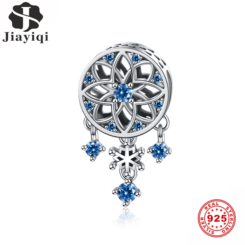 Jiayiqi Snowflake Dreamcatcher 925 Sterling Silver Blue CZ Charms Beads Fit Pandora Charms Silver 925 Original Christmas Jewelry(China)