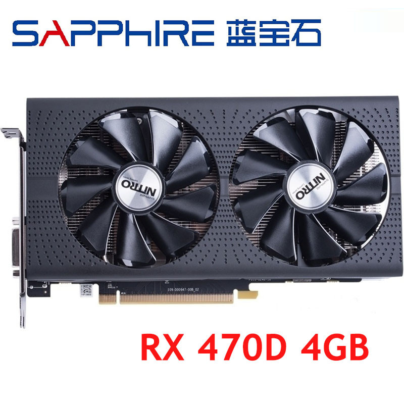 Видеокарта SAPPHIRE RX 470D, 4 Гб, 256 бит, GDDR5, видеокарта для AMD RX 400 серии, VGA-карты RX470 D RX470D, б/у