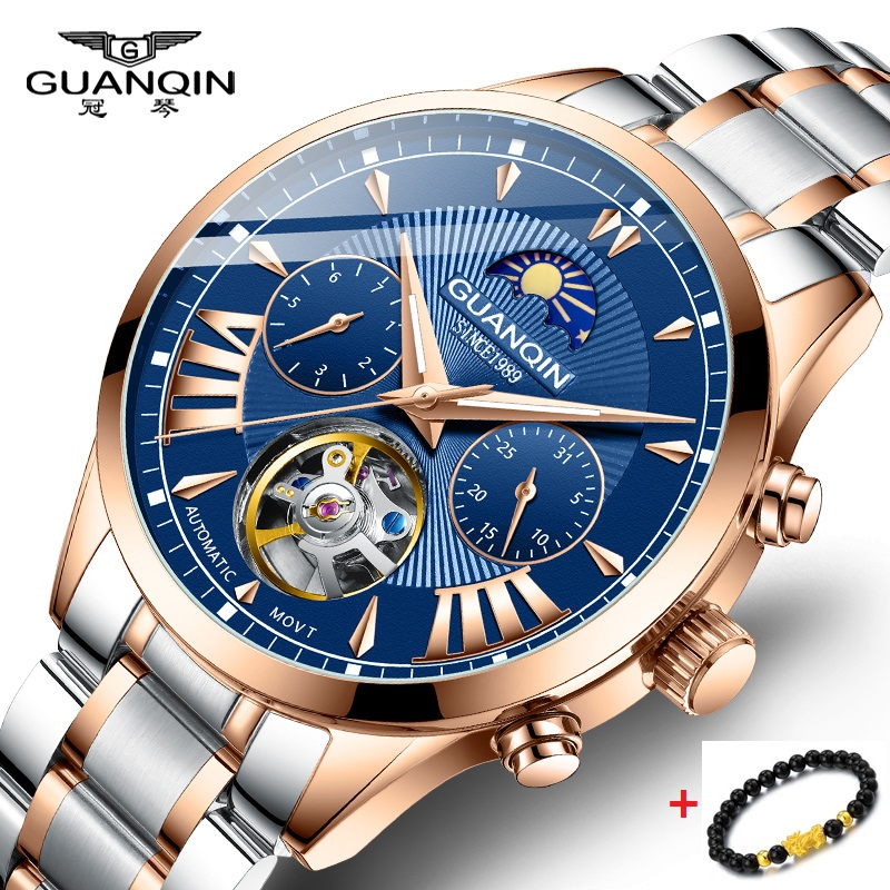 GUANQIN 50m Waterproof Automatic Watch Men Gold Mens Watches Top Brand Luxury Automatic Mechanical stainless steel Moon Phase Wa