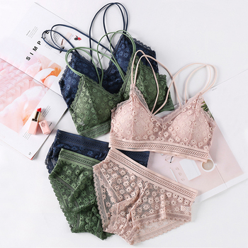 Women Bras Lace Bra Set Sexy LIngerie Girls Underwear Backless Bralette Transparent Briefs Panties Wholesale Link 7 Colors sexy kawaii lingerie women lace bra panty set adjustable straps bralette bandage bras womens underwear panties set