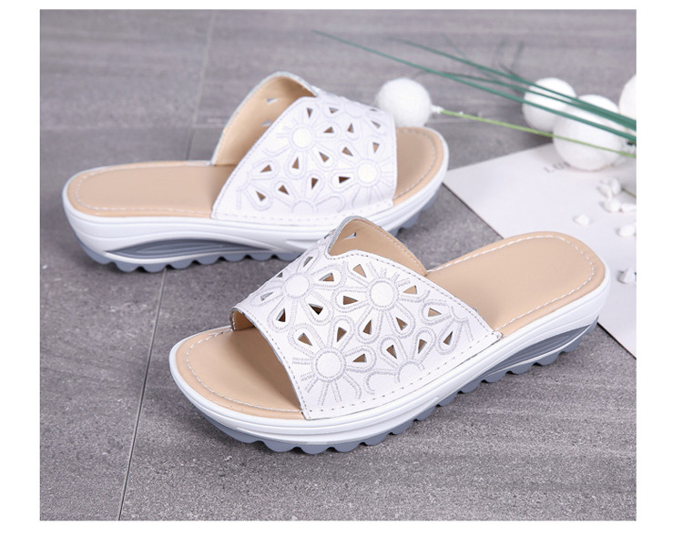 AH 1975-2020 Genuine Leather Womens Flat Slides Casual Hollows Summer Beach Flip Flops-5