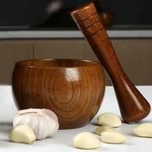 Trituradora de especias de madera, mortero de tarro de ajo pulido a mano suave, redondo, para moler hierbas, especias, granos, herramienta de cocina