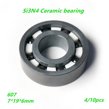 4/10pcs 607 Full Si3N4 ceramic bearing silicon ceramic Deep groove ball bearing 7*19*6mm