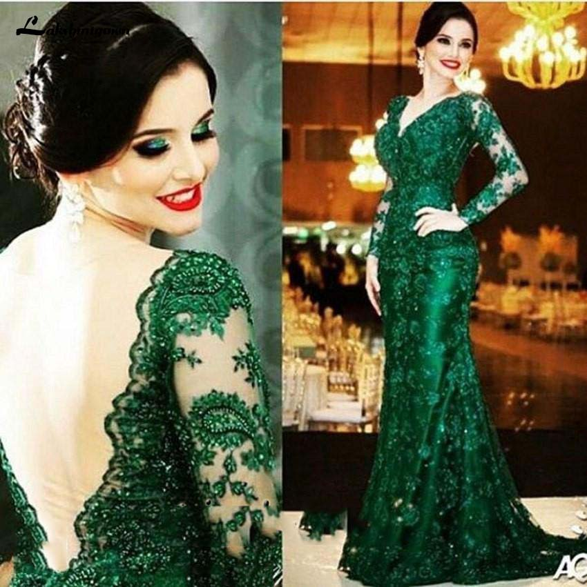 Elegant Emerald Green Lace Mother Of The Bride Dress V Neck Long Sleeves Open Back Mermaid Court Train Formal Gowns