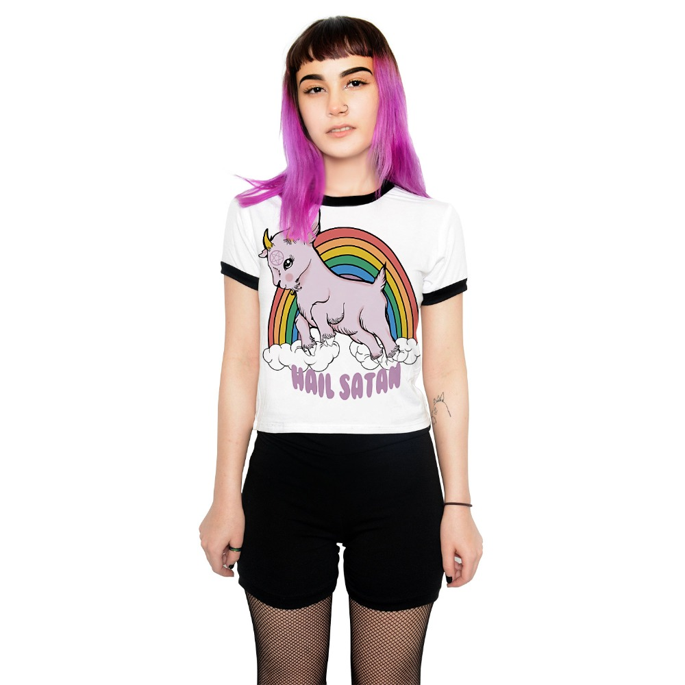New Halloween Women Summer Crop Top Slim Fit Short Sleeve Rainbow Goat cartoon Print <font><b>3D</b></font> <font><b>Sexy</b></font> <font><b>T</b></font> <font><b>shirt</b></font> Harajuku White Female Tee image