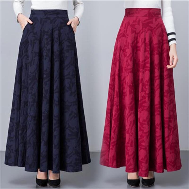 Women Plus Size Vintage Long Skirts Female Leaf Print High Waist A-Line Skirts Elegant Cotton Blend Pleated Maxi Skirt Faldas