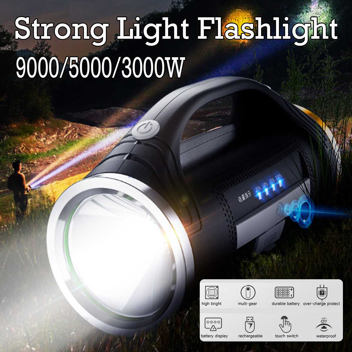 9000W USB Charging LED Work Light Torch 18650 Battery Spotlight Hand Lamp Camping Lantern Searchlight For Hiking Hunting