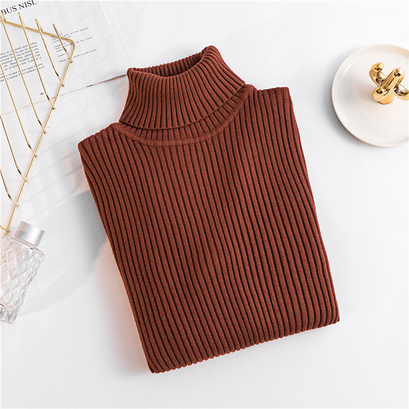 2020 AUTUMN Winter women Knitted Turtleneck Sweater Casual Soft polo-neck Jumper Fashion Slim Femme Elasticity Pullovers 16