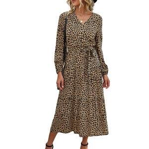 Осенне-зимнее 2020 Сексуальное Женское Платье с v-образным вырезом и длинным рукавом на шнуровке, хлопковые платья миди для женщин Vestidos