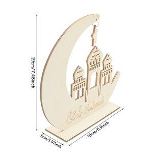 Image 2 - Decoración de Ramadan Eid Mubarak para el hogar, Luna, placa de madera, adornos colgantes, Festival musulmán islámico, fiesta, suministros