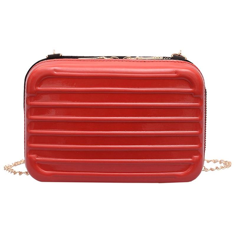 Newly Women Luggage Bag Soft Shell Square Handbag Shoulder Zipper Chain Square Bag FIF66