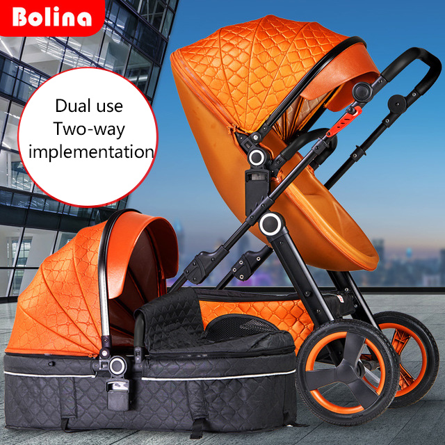 Multi-functional Baby Stroller Can Sit Reclining And Light Folding Two-way Implementation Baby Stroller Leather