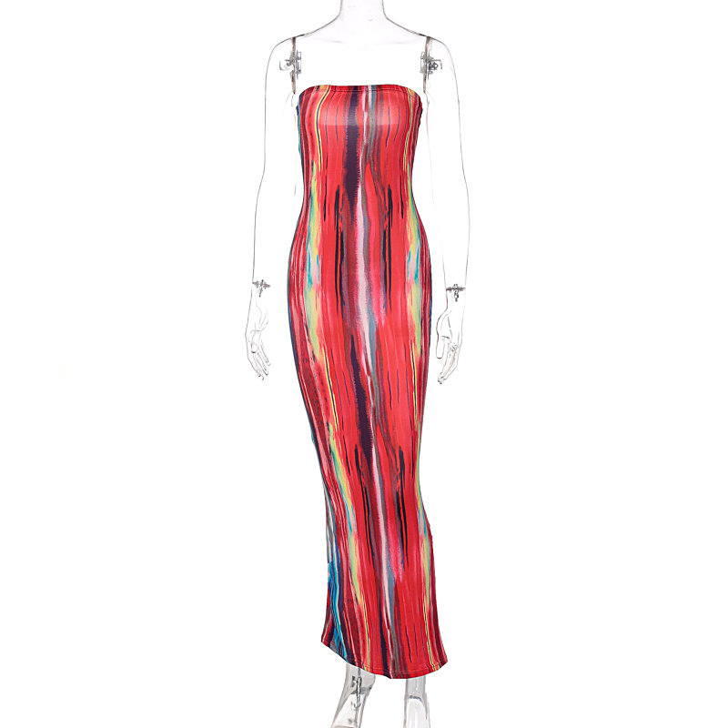 Hugcitar 2021 Sleeveless Slash Neck Tye Die Style Skinny Maxi Dress Spring Summer Women Fashion Sexy Streetwear Casual Outfits 1