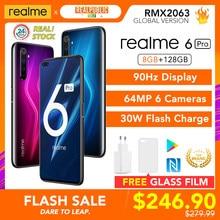 Realme 6 pro versão global 8gb ram 128gb rom snapdragon 720g 30w flash carga 4300mah 64mp câmera nfc ue carregador play store