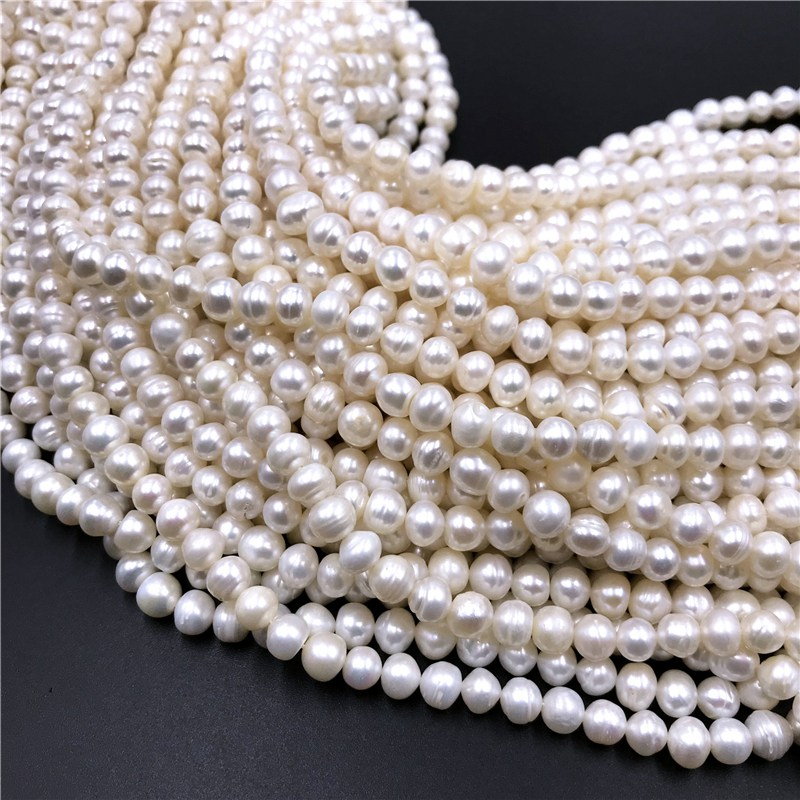 Freshwater Pearl Bead Bracelet Necklace Craft Jewelry-Making Natural-Pearls-Beads Strand title=