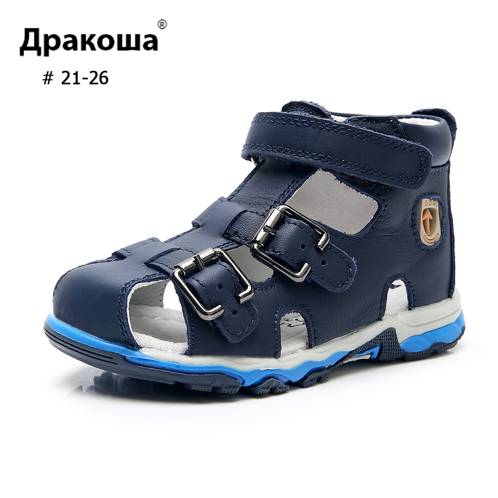 APAKOWA Boys Sandals Genuine Leather Inside&Outside Summer Toddler Sandals 3 Straps Hook&Loop England Arch Support Kids Shoes