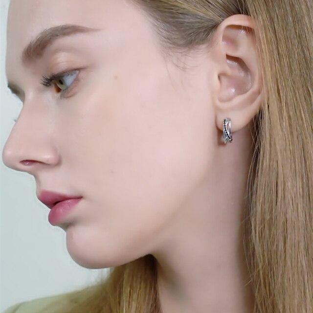925 Sterling Silver Jewelry Black Spinel Stone Cute Stud Earrings 5