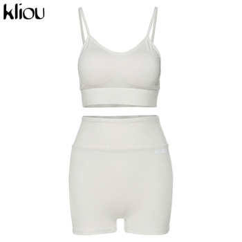 Kliou reflective letter print cotton 2 piece set women biker shorts v-neck crop top sleeveless casual outfits summer fashion 8