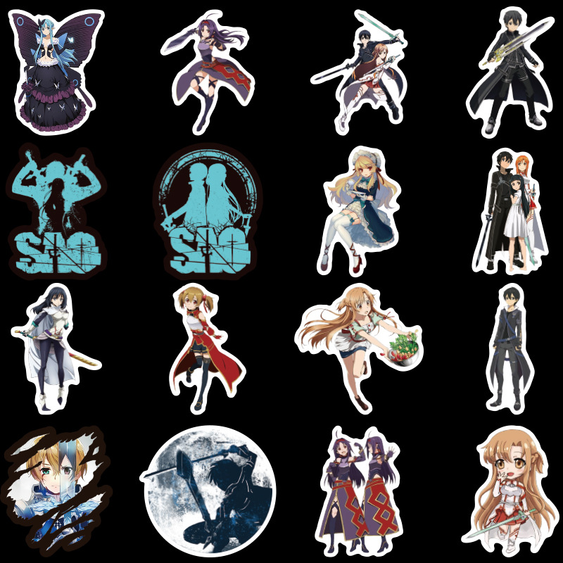 50Pcs Anime Girl Stickers Sword Art Online Scrapbooking Stickers Adhesive Sticker  Sticker for Phone Diary Laptop