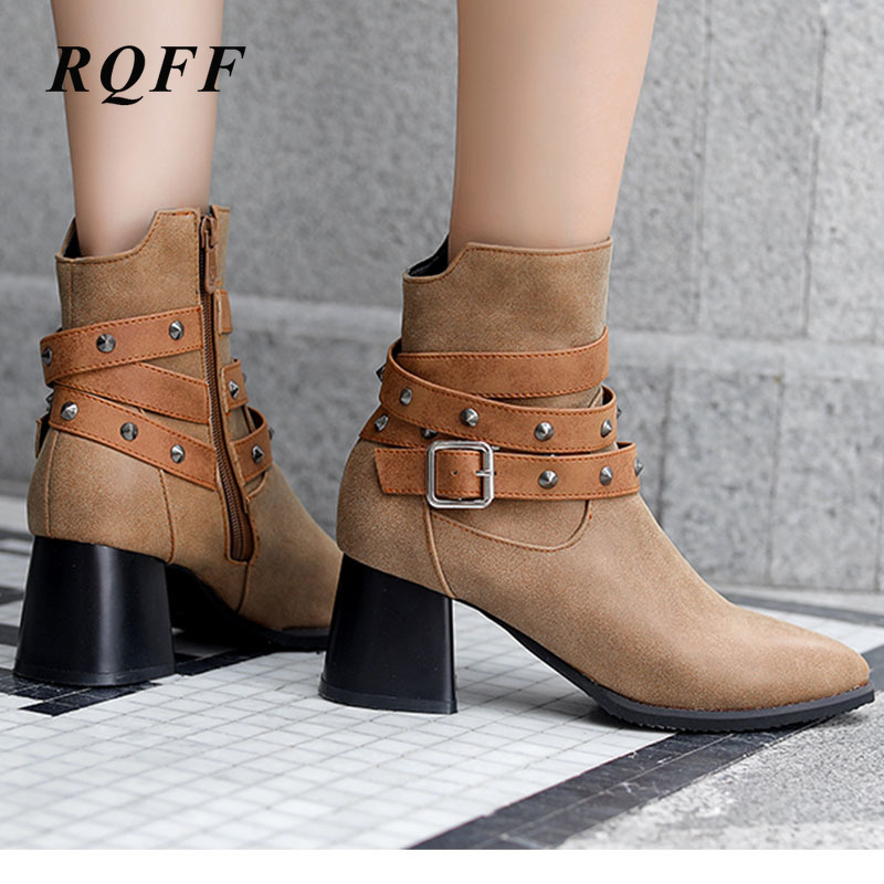 Women/'s Point-Toe Ankle Boots Buckle Ankle Strap High Block Heels Zip Shoes Size
