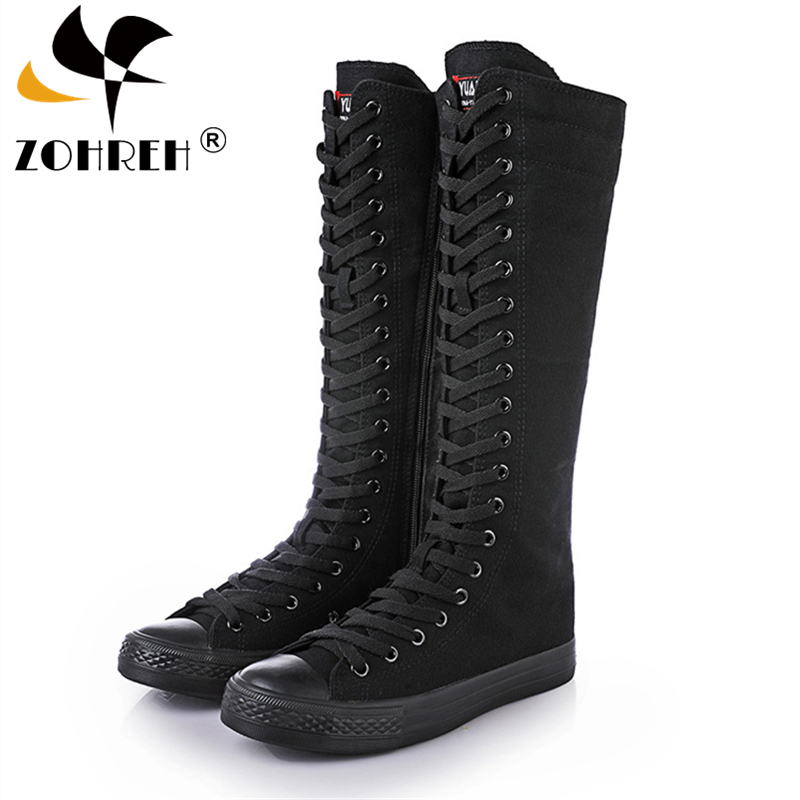 2021 Spring Autumn Women Shoes Canvas Casual High Top Shoes Long Boots Lace-Up Zipper Comfortable Flat Boots Sneakers Size 34-43