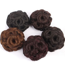 Brazilian Remy Hair Bun Cover Accessories Faux Human Hair Chignon Afro Naturel Hairpiece Fake Bun Black Hair Buns For Women(China)